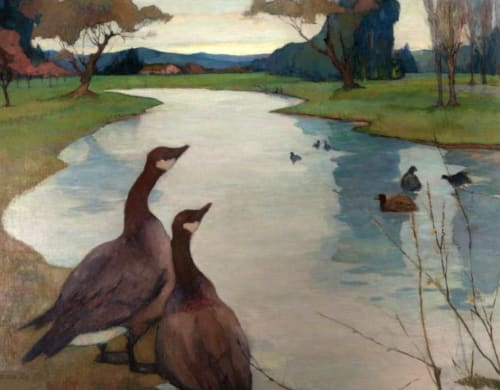 Paintings by Rowena Meeks Abdy seen at Mills College Art Museum, Oakland - Wild Geese