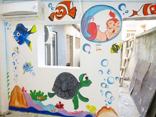 Murals by Cera Cerni seen at Chevron Drive Lekki, Lekki - Aquarium Mural