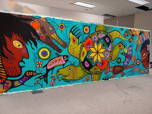 Murals by Philip Cote III seen at Rogers Headquarters, Toronto - The Gathering of the Clans