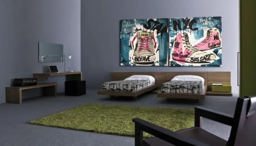 Murals by Erick Artik seen at Private Residence, Miami Beach - Star Golden Goose and NYC You and Me