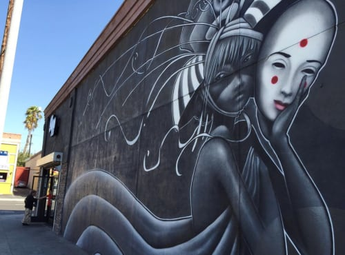Murals by Hans Haveron seen at The Bun Shop, Los Angeles - Mural