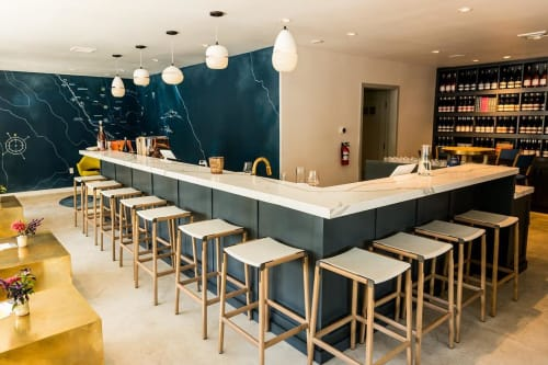 Chairs by Fyrn at LIOCO Wine Tasting Room, Healdsburg - Bartlett Backless Bar Stool