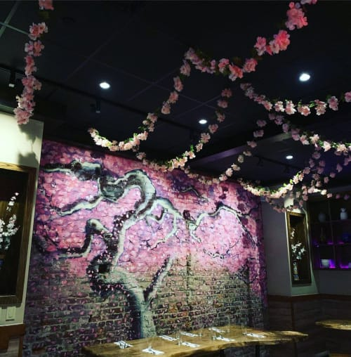 Murals by John Maurice Muldoon seen at Yuzu Kitchen, Pittsburgh - Cherry blossom mural