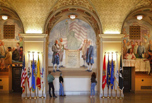 Murals by Kent Twitchell seen at Bob Hope Patriotic Hall, Los Angeles - We The People: Out of Many, One