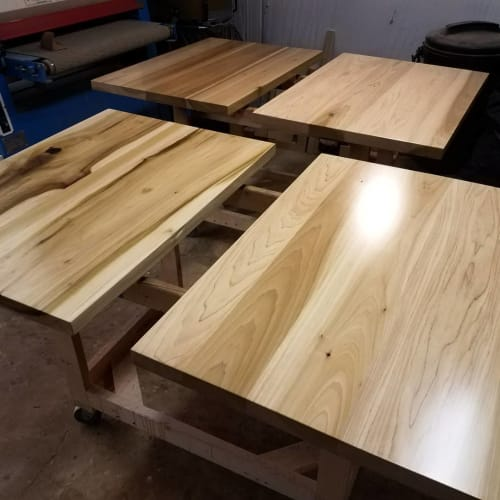 Tables by Roxie Woodworks seen at Track 61, Oxford - Table Tops