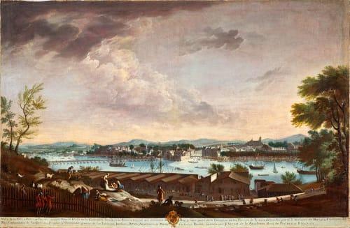 Paintings by Juan Patricio Morlete Ruiz seen at Art of The Americas Building, Los Angeles - View of the City and Port of Bayonne (Vista de la villa y puerto de Bayona)
