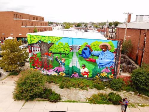 Street Murals by Bridget Cimino seen at North Lakewood Avenue & East Fayette Street, Baltimore - Raingarden