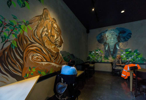Murals by Camer1 seen at Starbucks, 3rd Street, Bayview, SF, San Francisco - Animals