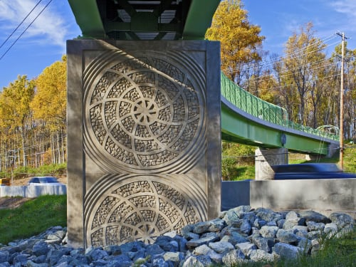 Public Sculptures by Vicki Scuri SiteWorks seen at Veirs Mill Road & Aspen Hill Road, Aspen Hill, MD, Aspen Hill - Rock Creek Trail Pedestrian Bridge