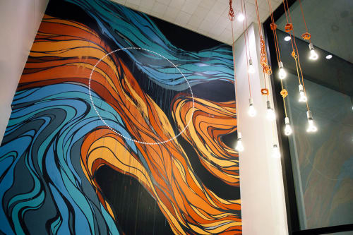 Murals by Erik Otto at Workshop Café, San Francisco - Cafe Lounge Mural