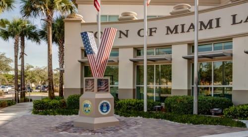 Sculptures by Stephanie Jaffe Werner seen at Miami Lakes Town Hall, Hialeah - Veteran Memorial