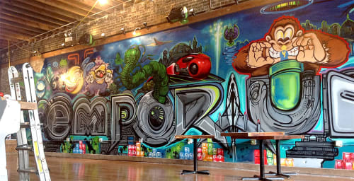 Murals by Tyrue Slang Jones seen at Emporium Wicker Park, Chicago - Emporium