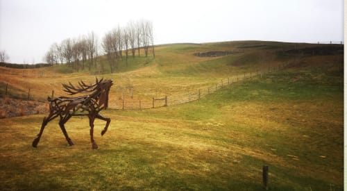Sculptures by Simon Max Bannister seen at Private Residence, Arrowtown - Actaeon Stag Sculpture