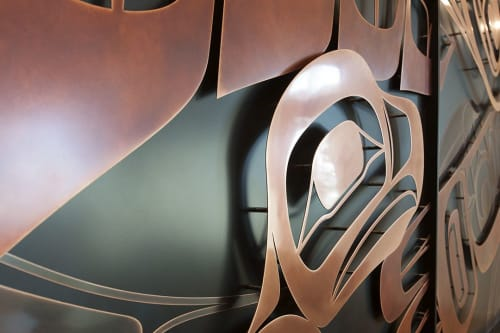 Wall Treatments by New Format seen at Telus Garden, Vancouver - Patinated copper and blackened aluminum