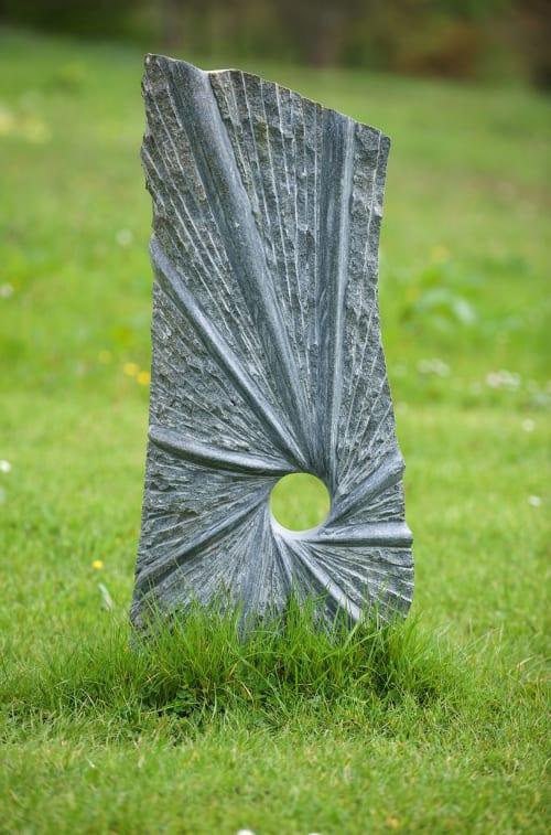 Public Sculptures by Darren Yeadon (Weirdstones) seen at National Botanic Garden of Wales, Llanarthne - Bluestone Healing Circle