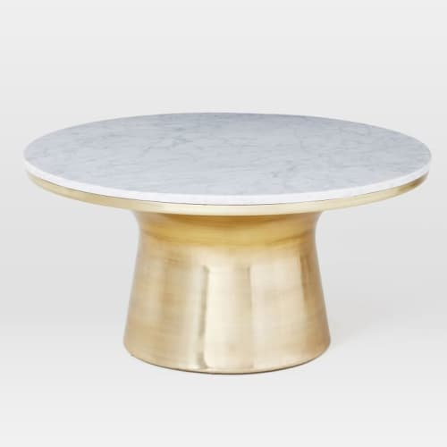 Tables by West Elm seen at JW Marriott Essex House New York, New York - Marble-Topped Pedestal Coffee Table