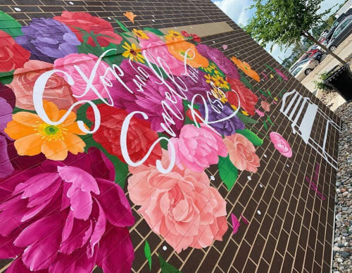 Stop and Smell the Roses Mural | Street Murals by Jenna Brownlee