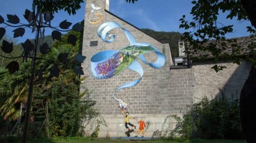 Murals by Mona Caron seen at Accademia Teatro Dimitri, Verscio - Murale Clownesco