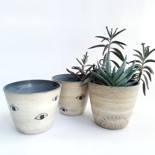 Vases & Vessels by Demetria Chappo seen at Private Residence, Deer Isle - Many Eyes Planters