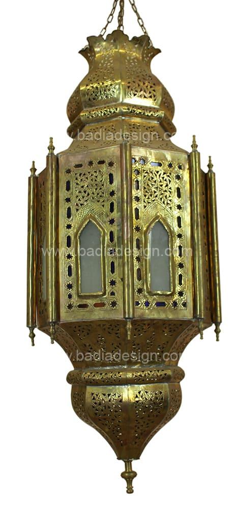 Lighting by Badia Design seen at The Joshua Tree Casita, Joshua Tree - Hanging Moroccan Brass Lantern