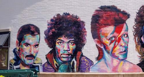 Street Murals by Gina Ribaudo (I Love Murals) seen at The Gateway, Salt Lake City - Rock Legends mural