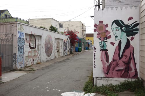 Street Murals by Boris Biberdzic seen at Orange Alley at 25th St, San Francisco, CA, San Francisco - Time