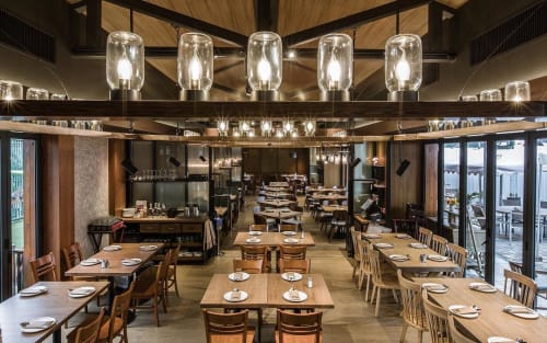 Lamps by deLighting Art seen at Tong's Road House Seafood and Grill - Custom Lighting