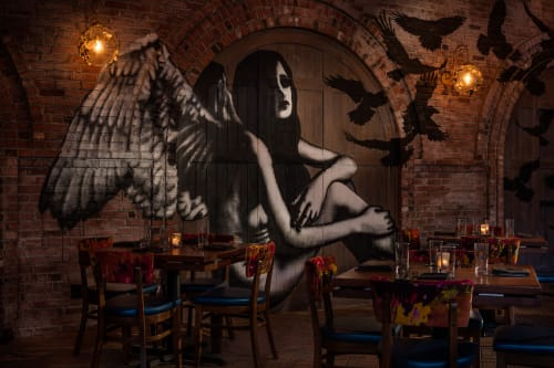 Murals by Eelus seen at Vandal, New York - Winged Female and Crows