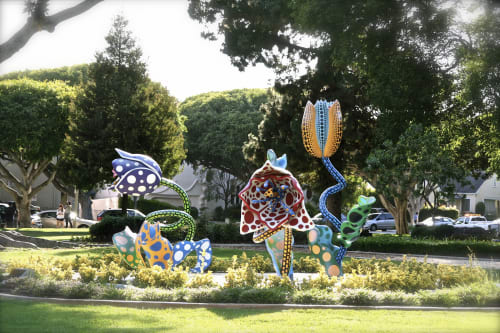 Public Sculptures by Yayoi Kusama seen at Beverly Gardens Park, Beverly Hills - Hymn of Life: Tulips