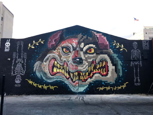 Murals by Dennis DXTR The Weird seen at The Well Salon and Store, Los Angeles - Wolf Head Split in Two