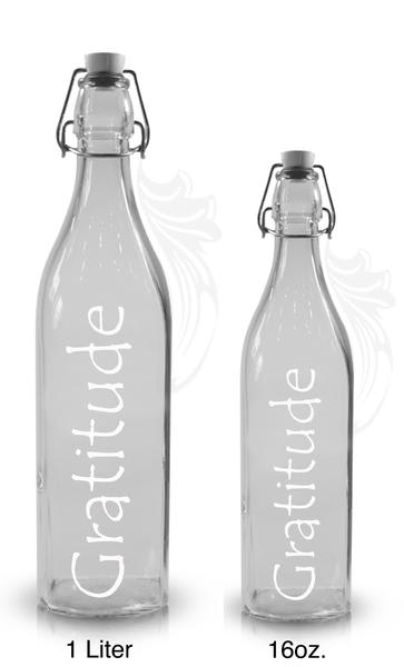 Tableware by Spokenglass seen at Cafe Gratitude Venice, Venice - Affirmation Bottles