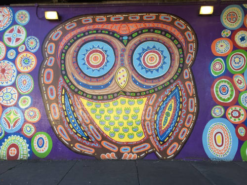 Street Murals by Tony Passero seen at 3360 W Belmont Ave, Chicago, Chicago - Whoot Mural