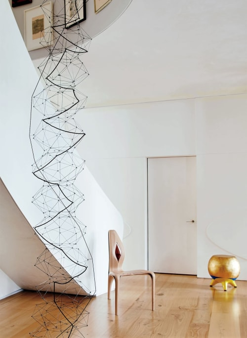 Chairs by Christopher Chiappa seen at Park Avenue Triplex Penthouse, New York - Gold Leaf Stool