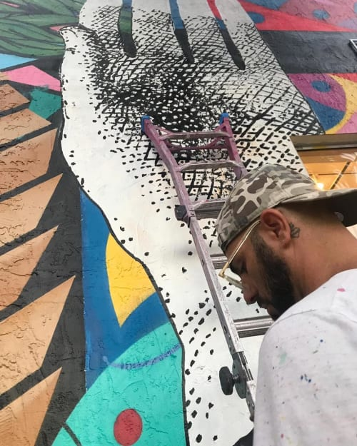 Murals by RIGO LEON HERRERA seen at Basico Wynwood, Miami - Mural