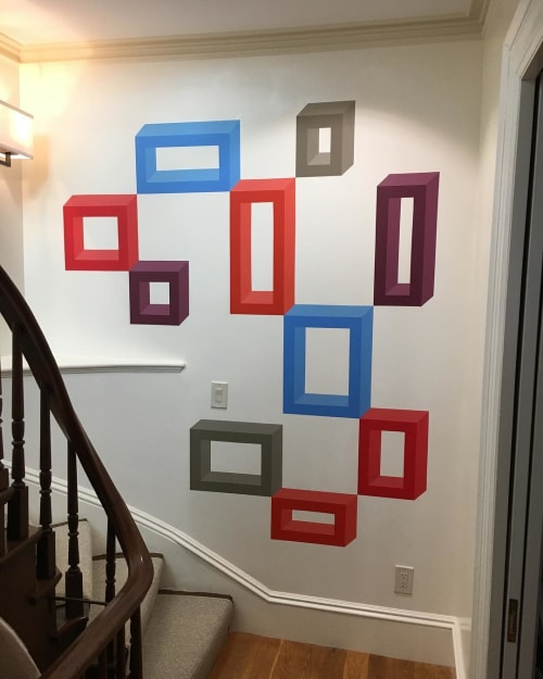 Murals by John Guthrie seen at Private Residence, Boston - Geometric Mural