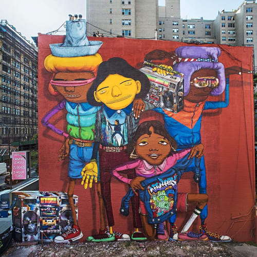 Street Murals by OSGEMEOS seen at 14th Street/Sixth Avenue, New York - Rock On To The Break Of Dawn Part1