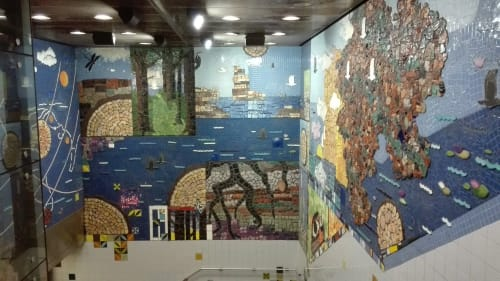 Public Mosaics by Corinne D. Peterson seen at Roosevelt Station, Chicago - Hopes and Dreams