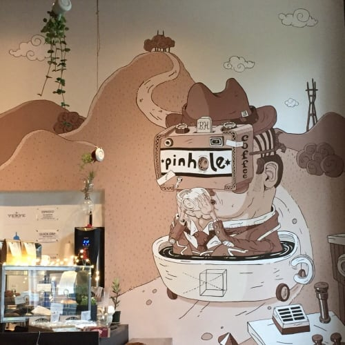 Murals by Joey Depakakibo seen at Pinhole Coffee, San Francisco - Mural