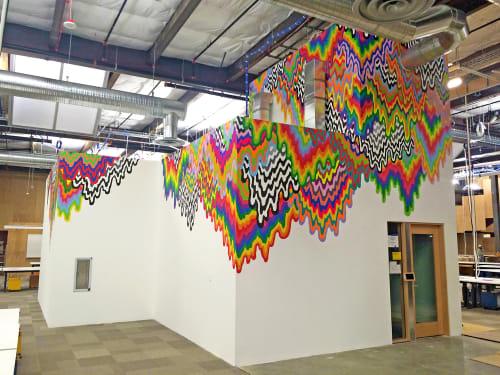 Murals by Jen Stark seen at Facebook HQ, Menlo Park - Drip Mural