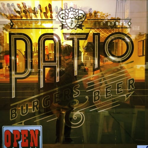 Signage by Leaf Cutter Studio seen at Patio Burgers & Beer, Los Angeles - Storefront Window Sign