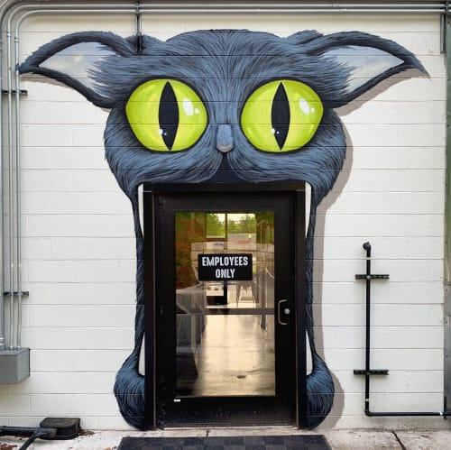 """Murals by Gus Cutty seen at Biscuit Head, Asheville - """"MMM CATHEAD"""" mural"""