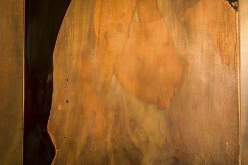 Wall Treatments by New Format seen at Browns Socialhouse Mount Royal Village, Calgary - Copper Patina Wall Panels