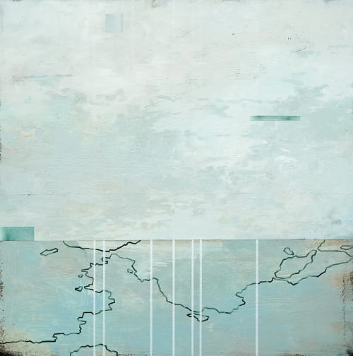 "Paintings by Lisa Kairos seen at Descanso Gardens, La Cañada Flintridge - ""First Light, Low Tide"""