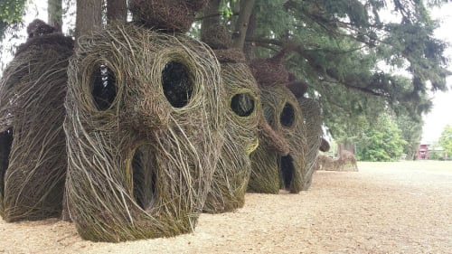 Public Sculptures by Patrick Dougherty seen at Orenco Woods Nature Park, Hillsboro - Head Over Heels
