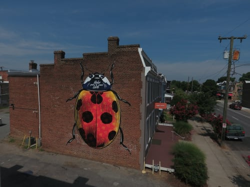 Murals by ASVP seen at Riggs Ward Design LC, Richmond - Make Your Own Luck (Ladybug)
