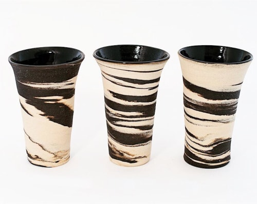 Vases & Vessels by ZZIEE Ceramics seen at ZZIEE Ceramics Studio, Joshua Tree - Black and White Strata Vases