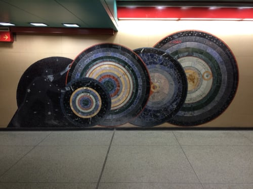 Paintings by Ellen Driscoll seen at Grand Central Terminal, New York - As Above So Below