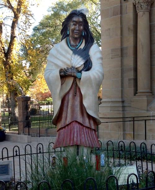 Public Sculptures by Estella Loretto seen at Cathedral Basilica of St. Francis of Assisi, Santa Fe - Saint Kateri Tekakwitha