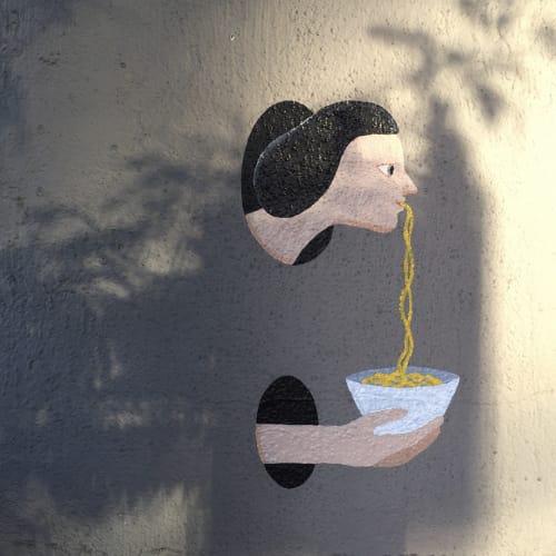 Street Murals by Kantapon Metheekul seen at San Francisco – Oakland Bay Bridge, San Francisco - Asian Girl Eats Noodles