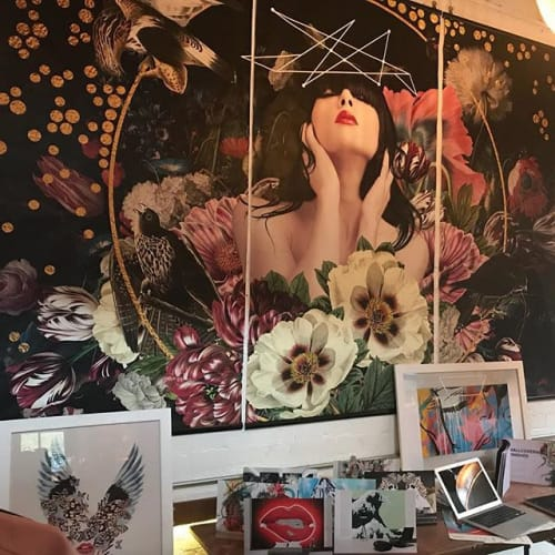 Murals by Artist Alexandra Gallagher seen at Union Private Members Club, London - Mural